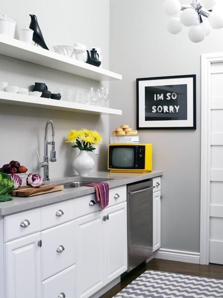Kitchens With Gray Walls photo gallery: emily walker's charming home | grey countertops