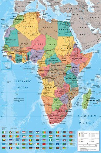 "Africa Map Poster with all the flags 24""x36"" Amazon Home"