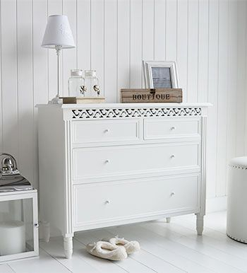 New England White chest of drawers | Console table & mirror ...