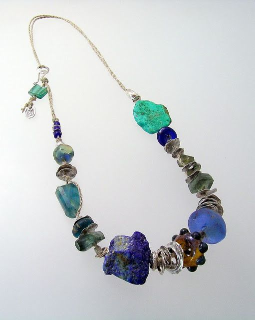 Epic Ocean Muse: vintage trade beads, flourite, moss aquamarine, lapis, artisan lampwork glass beads, dogon beads from Ghana, chrysocolla, fine and sterling silver on hand-plied Euro-flax linen cord; kathy van kleeck