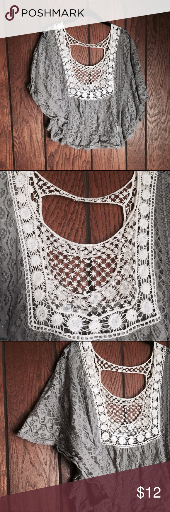Kirra Grey Crochet Open Back Flowy Shirt Size Med This shirt is beautiful with a tank top or bandeau underneath. This is the perfect addition to a totally boho closet! The crochet is in perfect condition, which allows for you to stay cool during those hot American summer days 😎 the open back is super cute as well as the flowy sleeves. I love this shirt but unfortunately it doesn't fit me like it used to!! Enjoy ladies! Feel free to bundle, offer, and ask questions! Happy shopping 💕❤️ Kirra…
