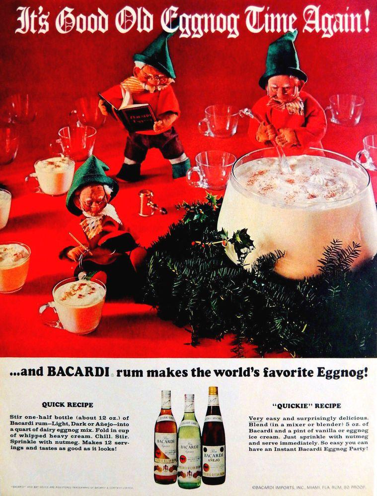 vintage 1968 bacardi rum eggnog christmas elf advertisement print ad art bacardirum