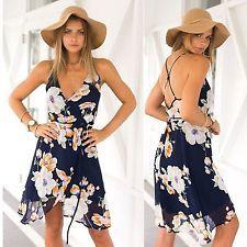 Sexy Women Floral Summer Boho short Maxi Evening Party Beach Dress Chiffon Dress