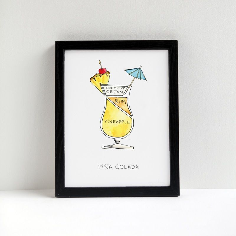 Print of original watercolor diagram of a Pina Colada cocktail by Drywell Art.  If you like these... and getting caught in the rain... something, something. Regardless of terrible song lyrics, these frosty concoctions of pineapple, coconut cream and rum really help you escape the heat.   Print measures 8.5 x 11, and is printed with archival pigment inks on archival velvet fine art paper.   © 2015 Alyson Thomas