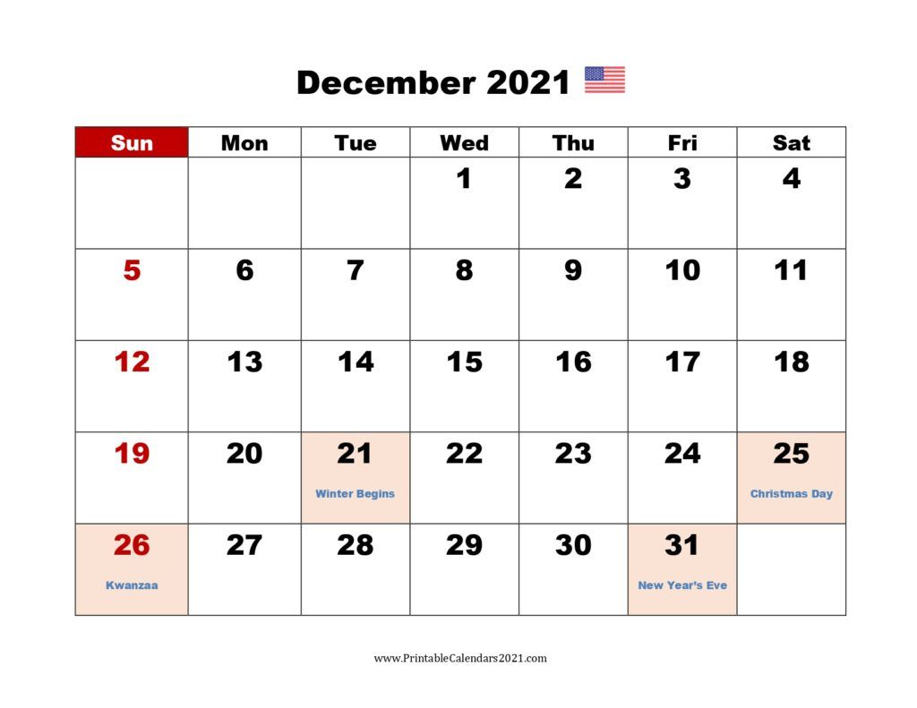 Printable Calendar December 2021 Printable 2021 Calendar With Holidays In 2020 Printable Calendar 2021 Calendar Calendar Printables