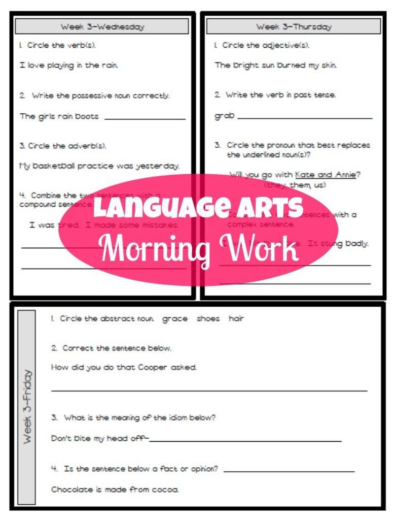 Third Grade Language Arts Morning Work Third Grade Language Arts Math Morning Work Morning Work