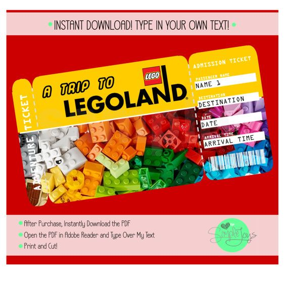 printable ticket to legoland boarding pass adventure admission ticket paper party supplies. Black Bedroom Furniture Sets. Home Design Ideas