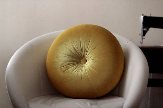 Mustard yellow velvet round pillow 16