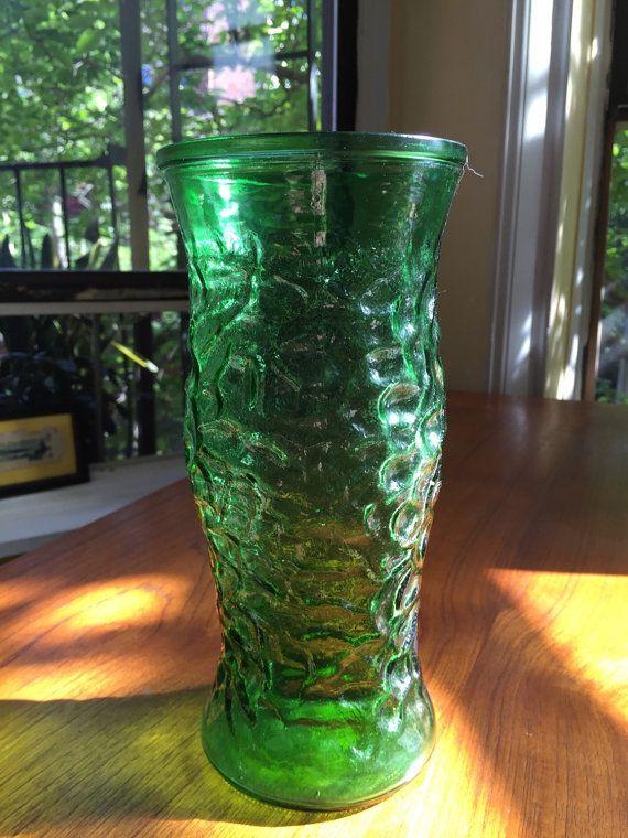 Vintage Emerald Green Glass Vase Hoosier Glass Vase Excellent
