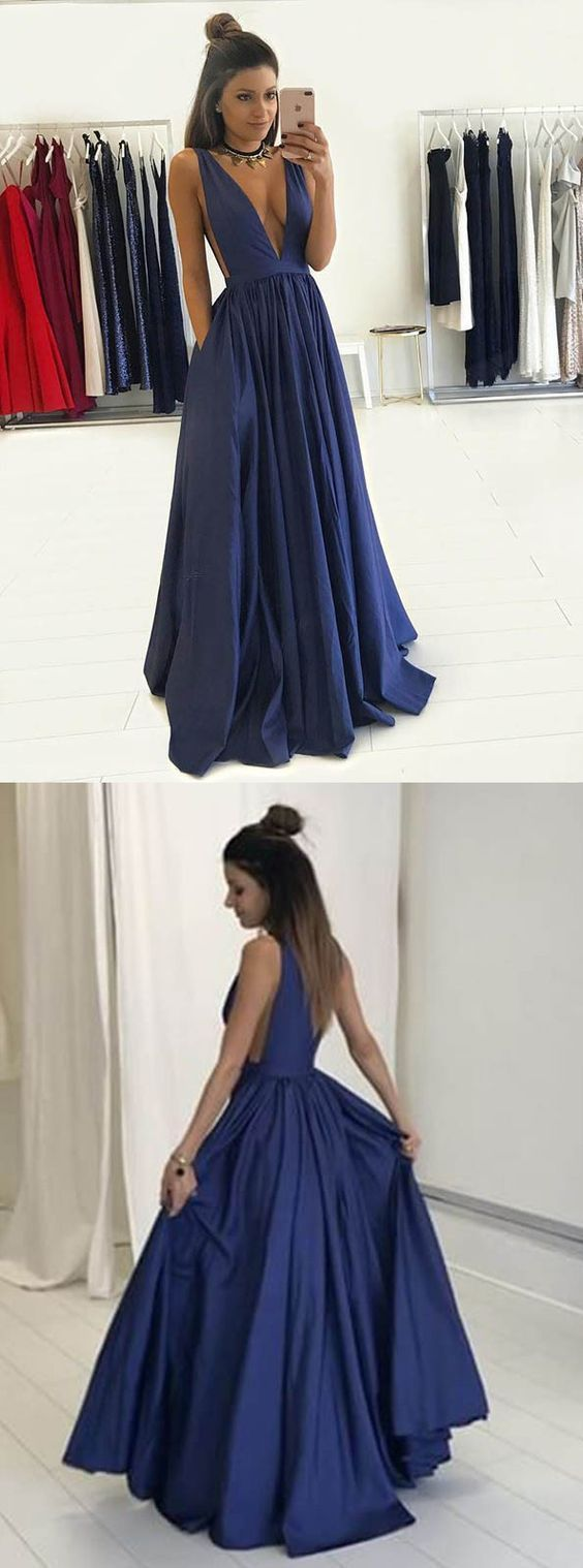 Aline deep vneck long dark blue taffeta prom dress with pockets in