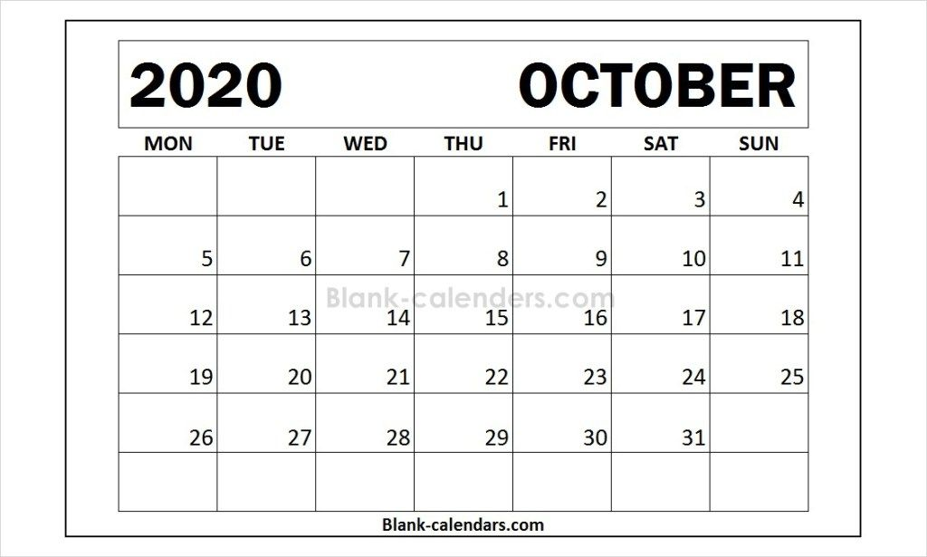Print Blank October Calendar 2020 Template 2021 Calendar