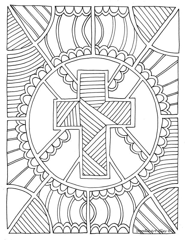 Coloring Page Cross Christian Coloring Cross Coloring Page Easter Coloring Pages
