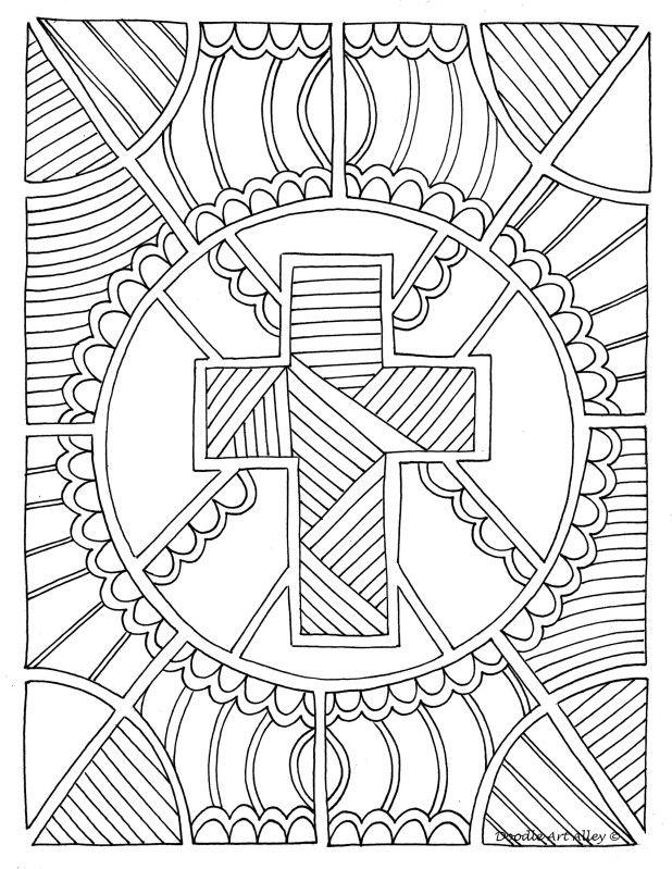 Coloring Page Cross Church Stuff Religion Mandalas Paginas