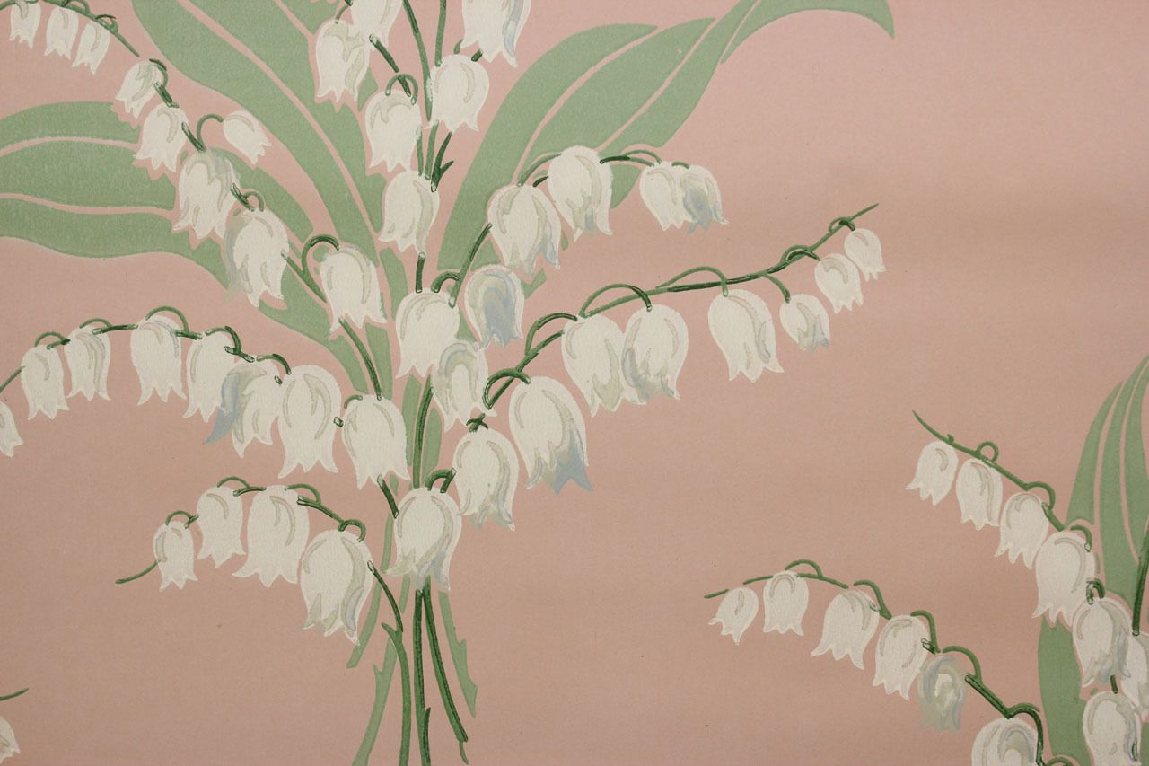 1950 S Vintage Wallpaper Lily Of The Valley On Pink Lily