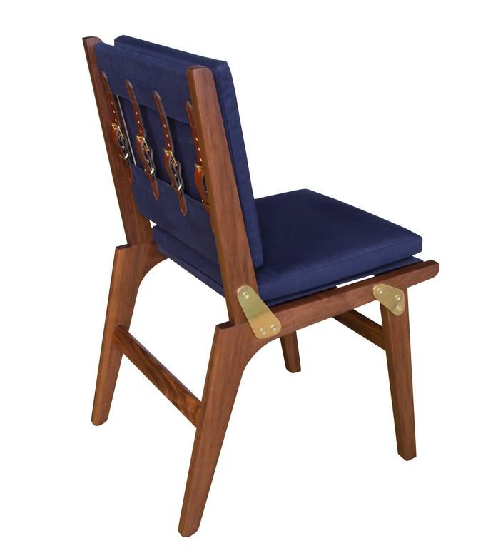 OFS Dining Chair with Navy Canvas Upholstery and Saddle Leather