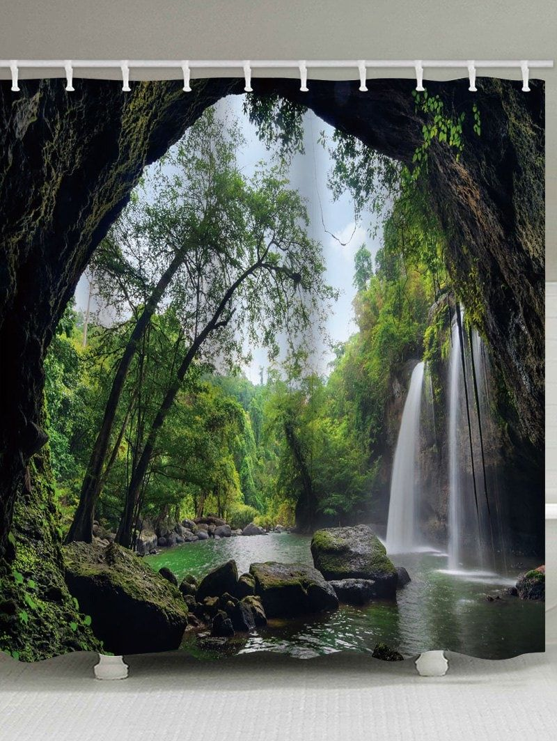 Deep Forest Mountain Waterfall Swag Print Shower Curtain Mountain Waterfall Waterfall Shower Cool Shower Curtains