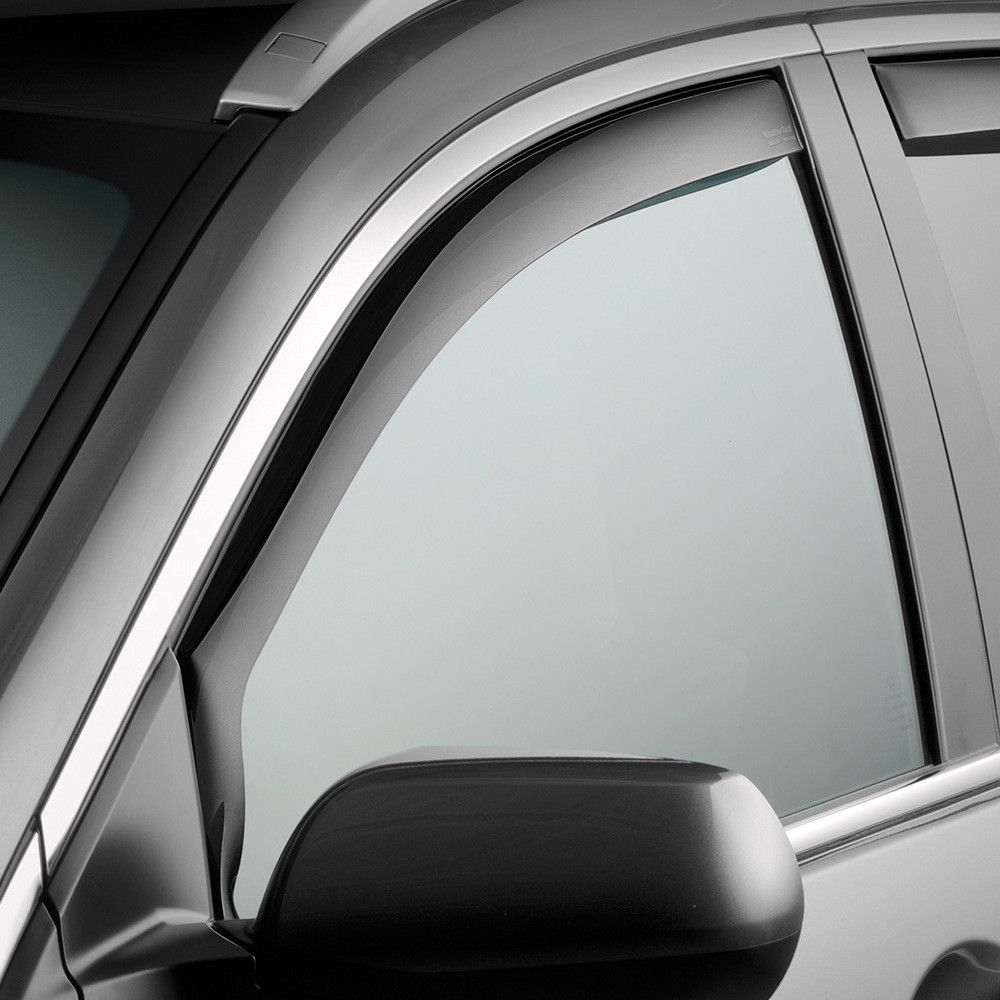 WeatherTech 80710 Series Dark Smoke Front Side Window Deflectors - Side Window Deflectors WeatherTech(R) Side Window Deflectors, offer fresh air enjoyment with an original equipment look, installing within the window channel. They are crafted from the finest 3mm acrylic material available. Installation is quick and easy, with no exterior tape needed. WeatherTech(R) Side Window Deflectors are precision-machined to perfectly fit your vehicle's window channel. These low profile window…