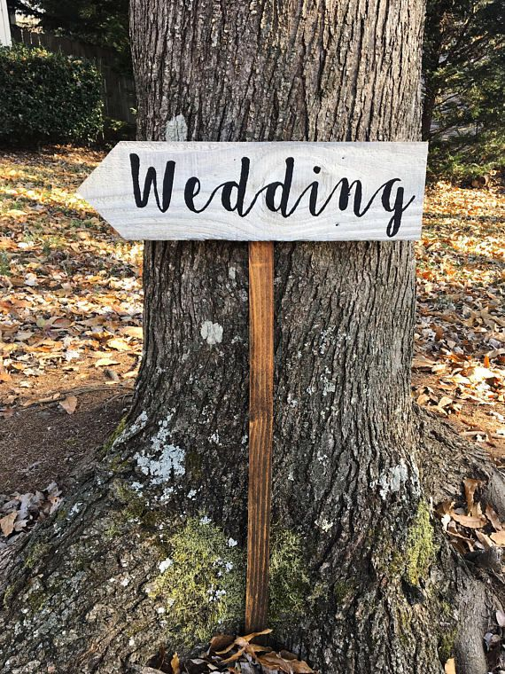 Wooden Wedding Arrow Sign With Post, Outdoor Wedding Sign, Rustic ...