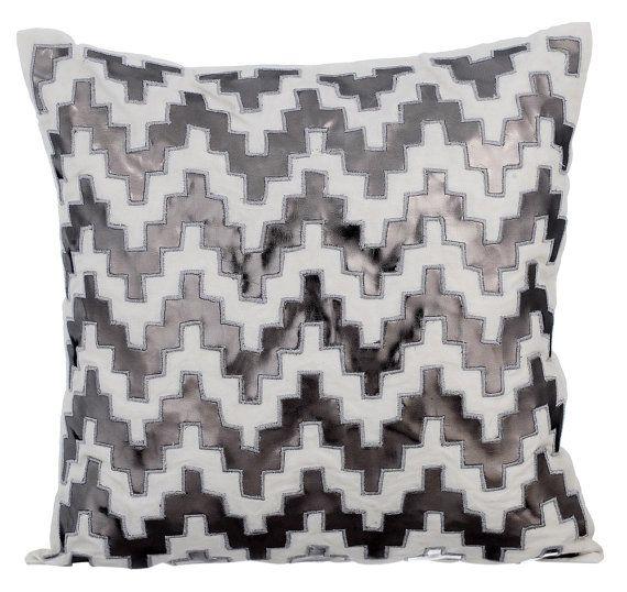 Art Silk Gray Throw Pillow Cover 16 X16 Decorative Sofa Pillow Lattice Trellis Metallic Leather Sofa Cushion Abstract Steely Progress Leather Throw Pillows Decorative Sofa Pillows Grey Decorative Pillow