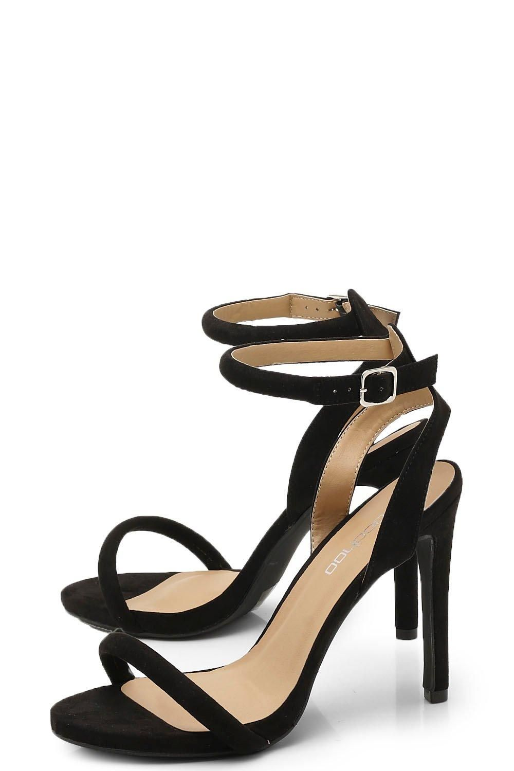 Two Part Strappy Heels Boohoo In 2020 Simple Black Heels Heels Strappy Heels