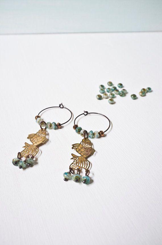 VINTAGE BRASS Dangle Drop Earrings  Japanese Koi  por vintagefables