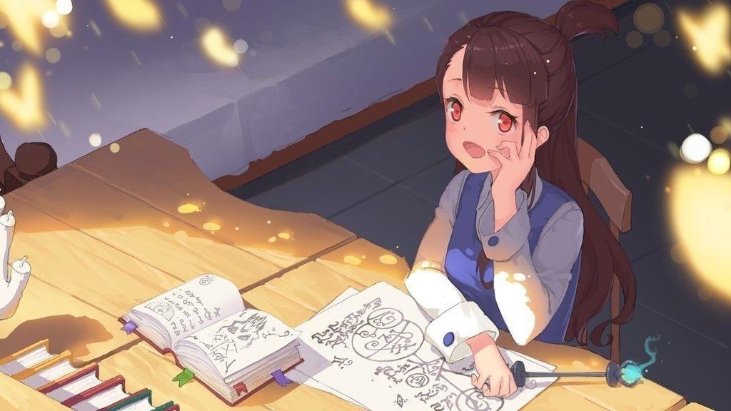 Atsuko kagari little witch academia reading books