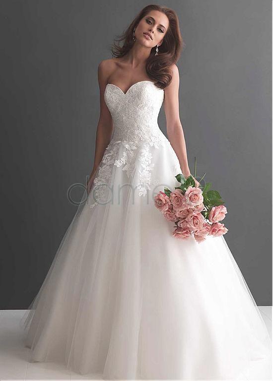 839799ec062 Tüll Herz-Ausschnitt Satin Lace A-Linie aufgeblähtes bodenlanges  Brautkleider