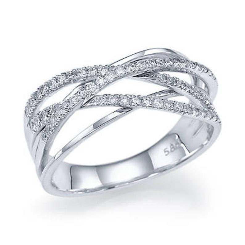 Criss Cross Diamond Wedding Band 14k White Gold or 14k