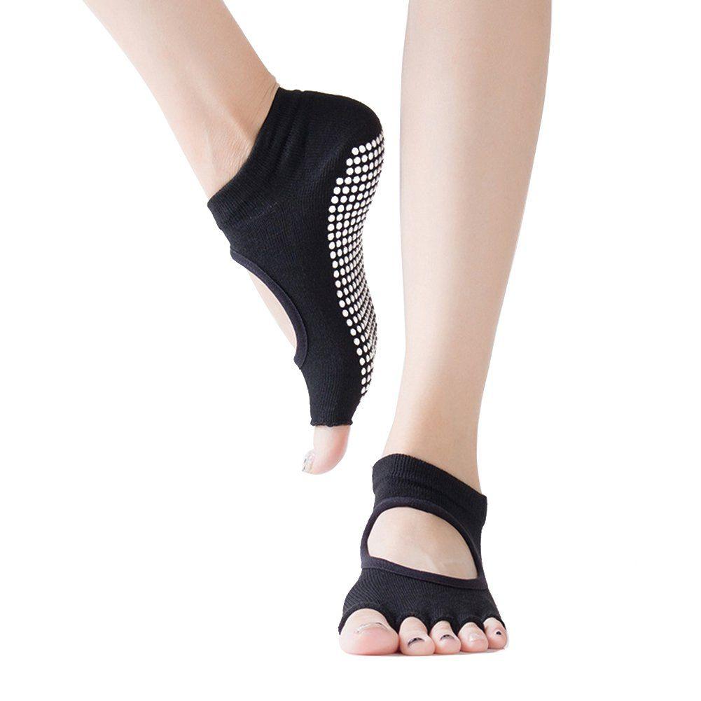 Women Yoga Socks Dancing Yoga Pilates Socks Open Foot Sox Nonslip Low Rise Comfortable Breathable Cotton Socks Black Yoga Socks Pilates Socks Massage Socks