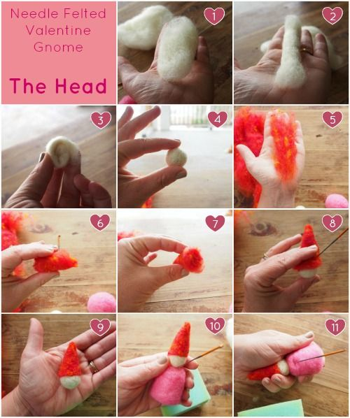 Needle Felting Tutorial Valentine S Day Gnome Diy The Magic Onions Needle Felting Diy Needle Felting Tutorial Felting Tutorials