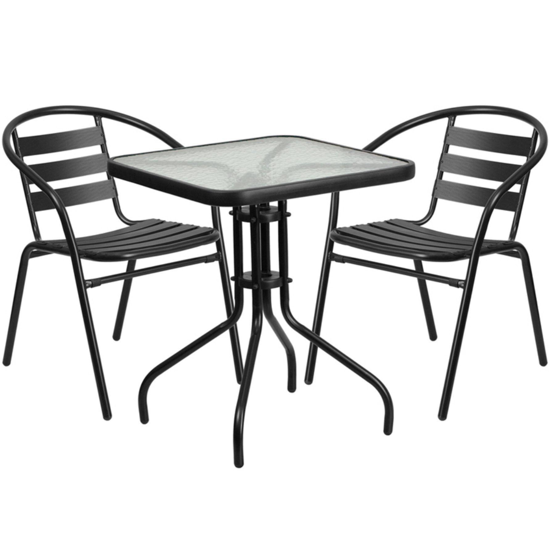 Outdoor Flash Furniture 3 Piece Square Aluminum Patio Dining Set