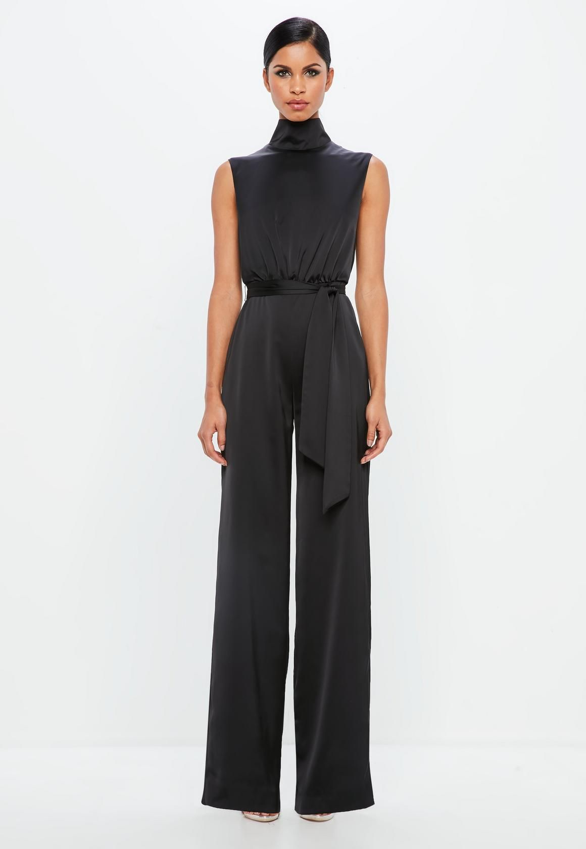 Missguided Peace Love Black Satin High Neck Belted Jumpsuit Black Overall Dress Overall Dress Dresses [ 1680 x 1160 Pixel ]