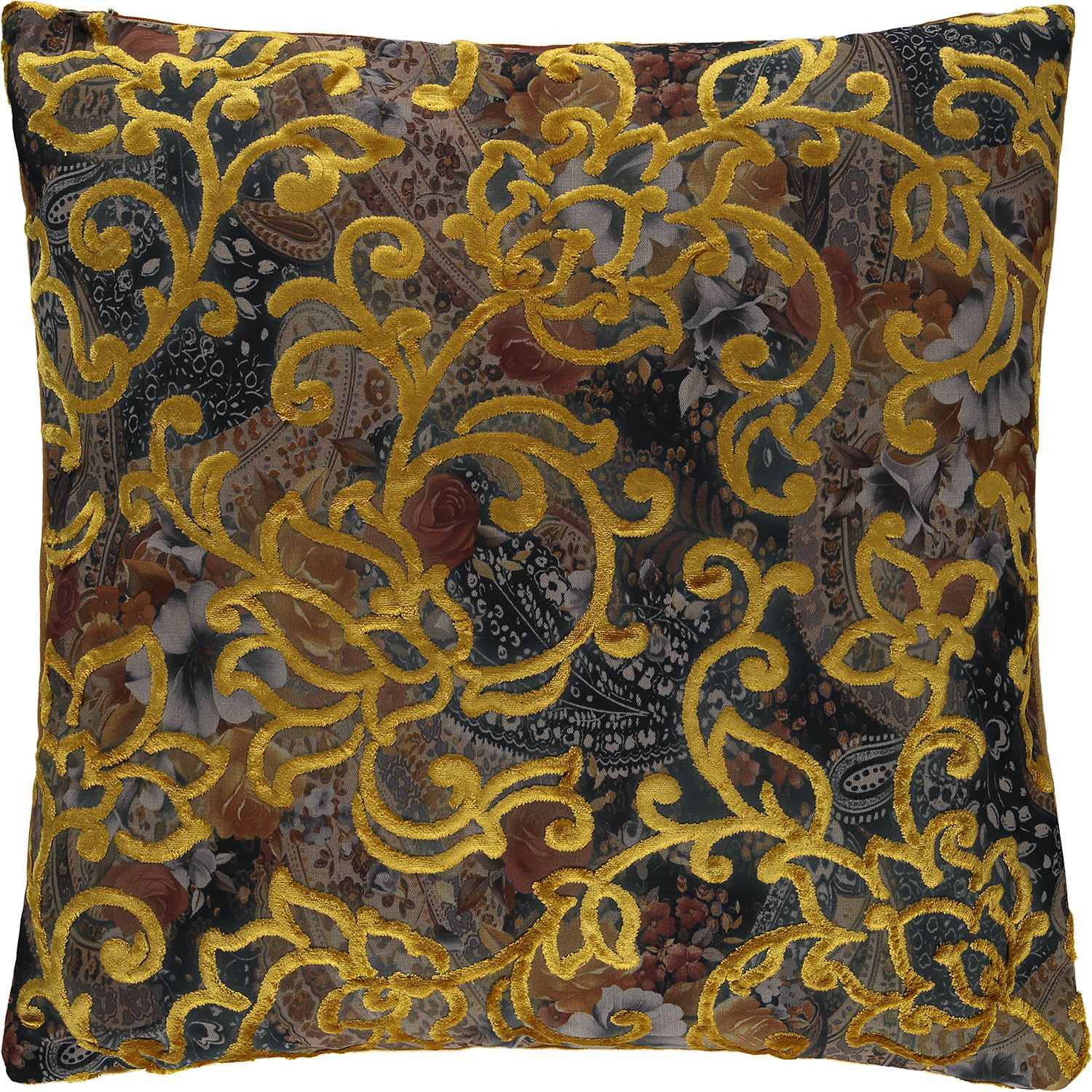 """The Cushion Factory"" Yellow Velvet Floral Cushion"
