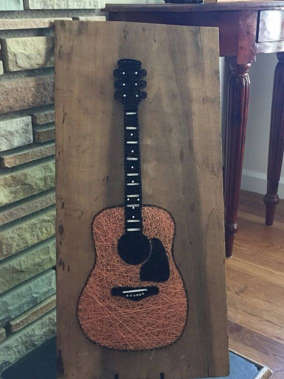 made to order acoustic guitar string art products art filaire art guitare. Black Bedroom Furniture Sets. Home Design Ideas