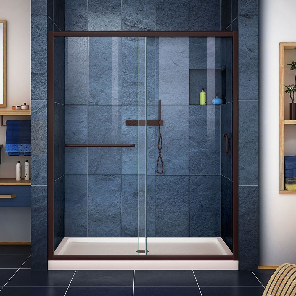 Infinity Z 32 Inch D X 54 Inch W Clear Shower Door In Oil Rubbed Bronze Center Drain Biscuit Base Frameless Sliding Shower Doors Shower Doors Shower Base