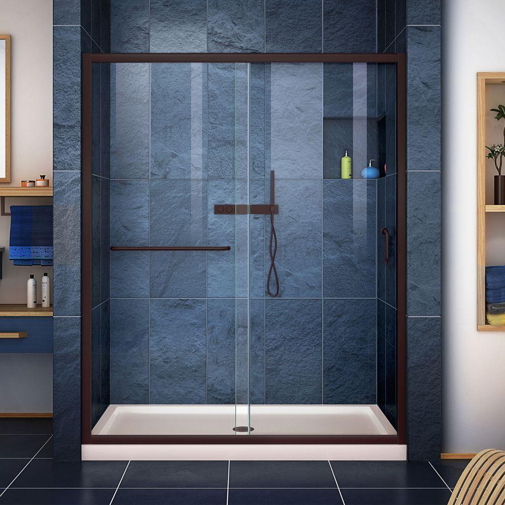 Infinity Z 32 Inch D X 54 Inch W Clear Shower Door In Oil Rubbed