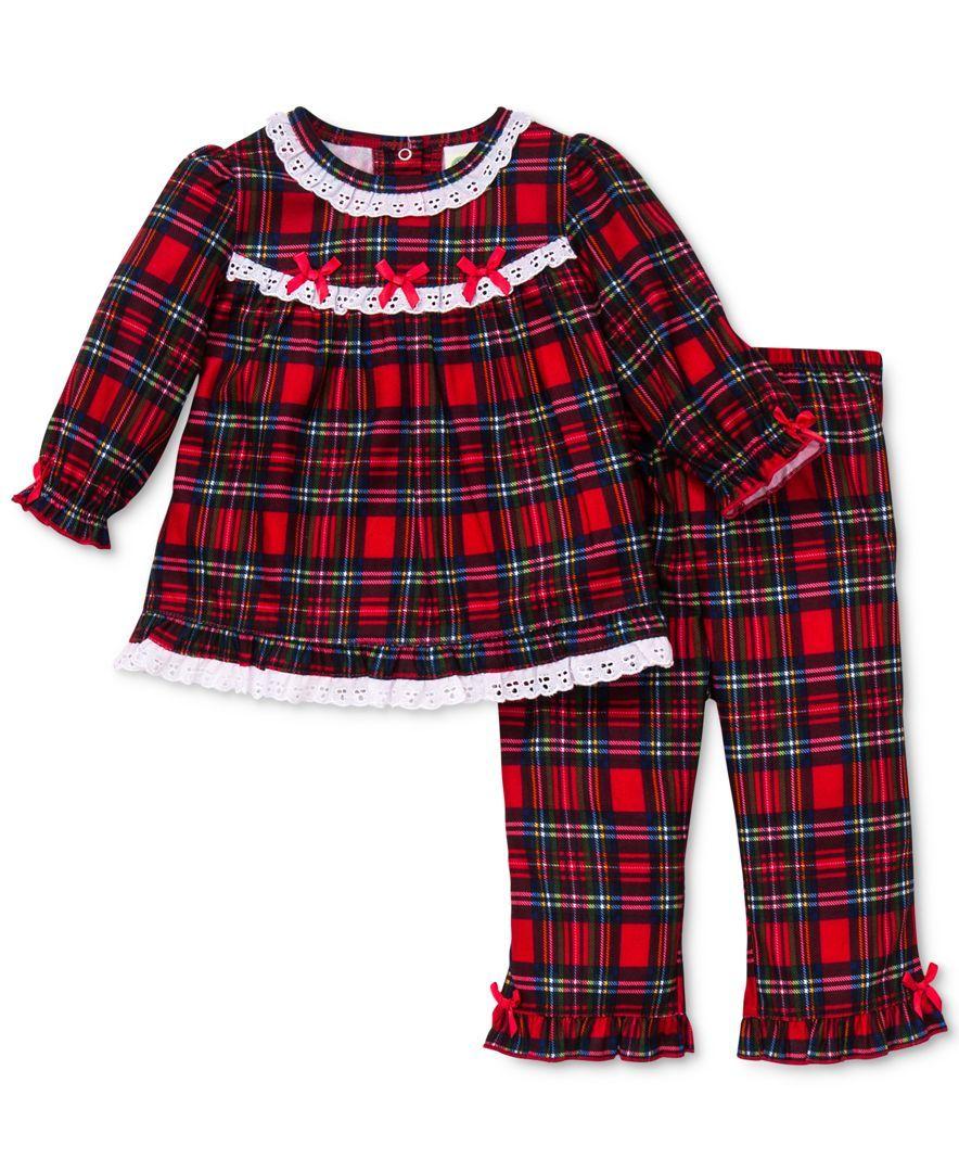 Red flannel pajamas  Little Me Baby Girlsu Piece Plaid Top and Bottom Pajama Set  Girl