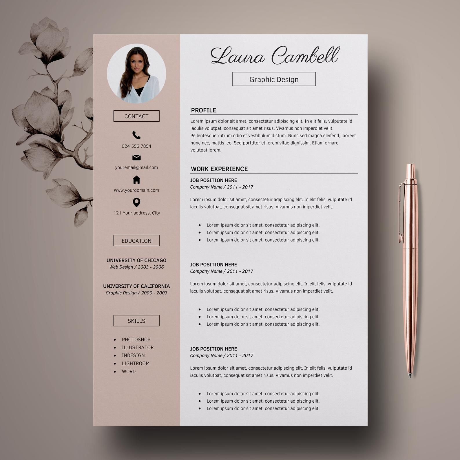 Modern Resume Template Cv Template For Ms Word Professional Resume Design Resume Cover Letter Resume Instant Download Lebenslauf Design Lebenslaufvorlage Lebenslauf