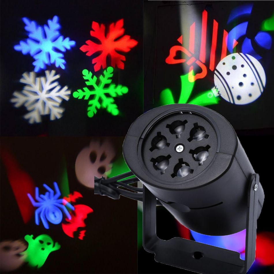Laser Projector Lamps LED Stage Light Heart Snow Spider Bowknot Bat