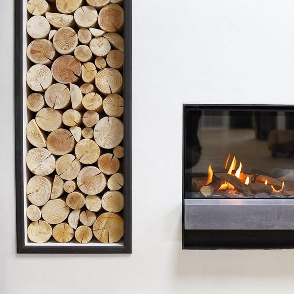 Stacked Decorative Logs From The Log Basket Displayed In An Alcove Of A Stylish Modern Fireplace As Seen Edinburgh Showroom Bonk Co Fire