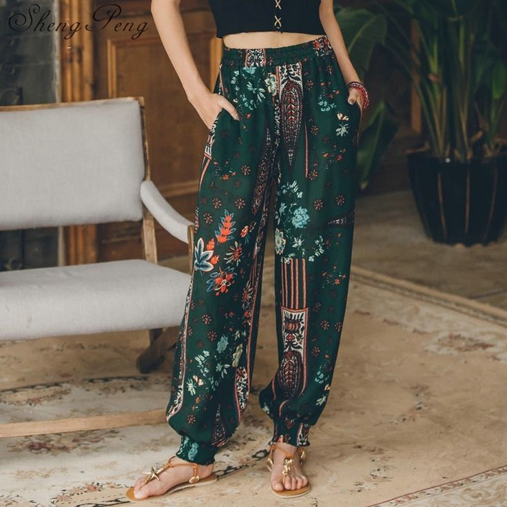 2018 chic style boho hippie pants women ethnic pants summer holiday beach vintage wide leg long trib 1