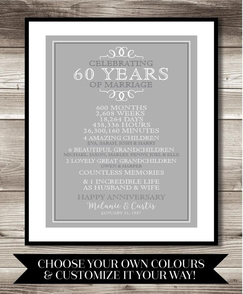 60 Year Anniversary Digital print, 60th Anniversary