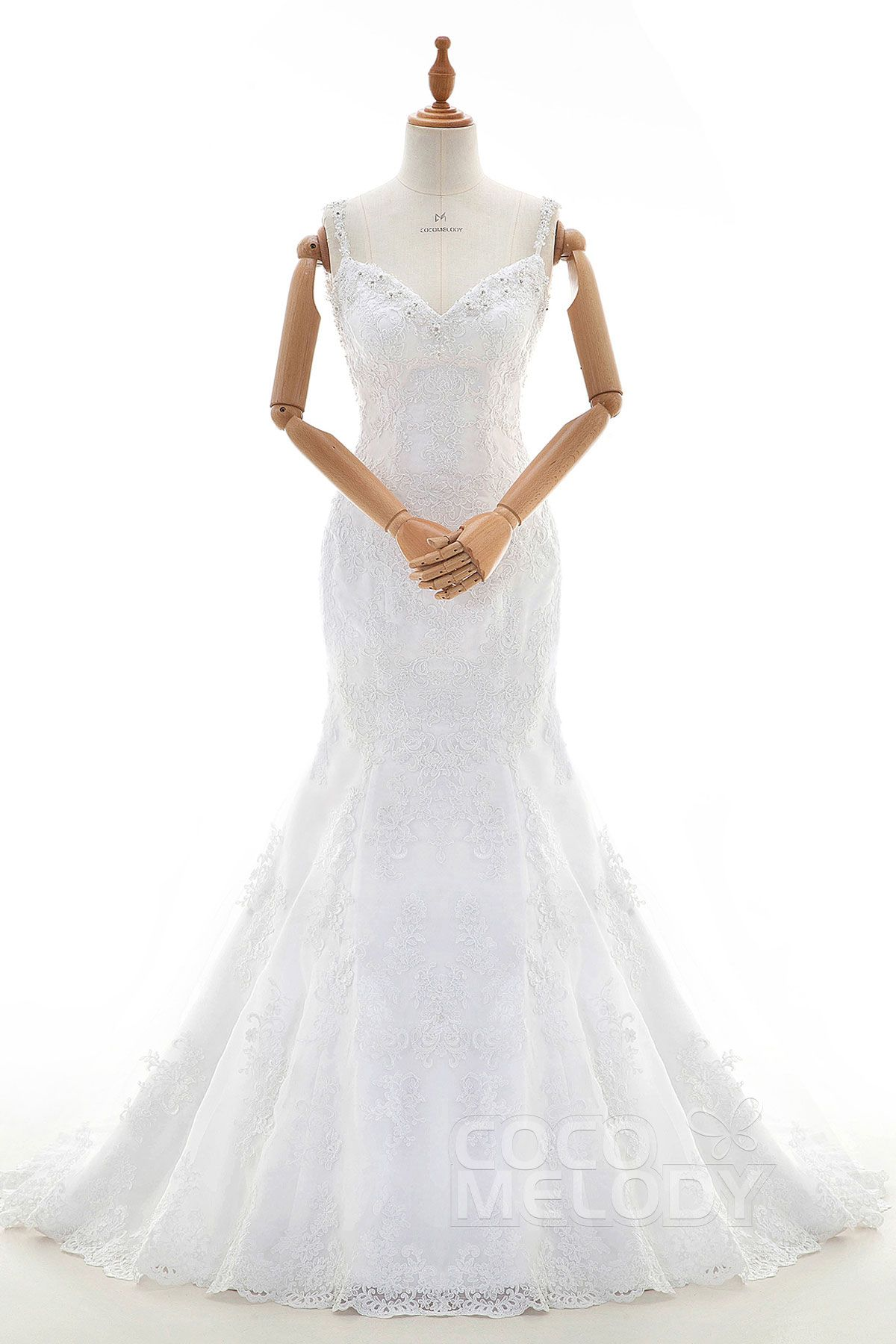 Fashion+Trumpet-Mermaid+Spaghetti+Strap+Dropped+Court+Train+Tulle+and+Lace+White+Sleeveless+Open+Back+Wedding+Dress+with+Appliques+and+Beading+LD3907