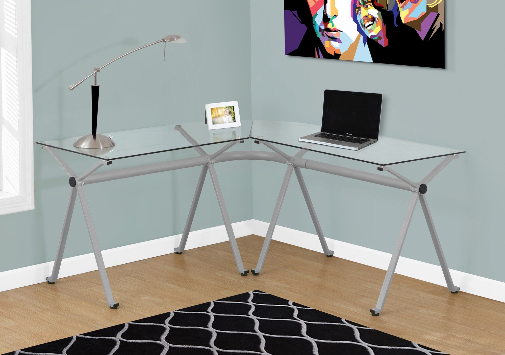 L shaped Corner Glass puter Desk with Silver Frame