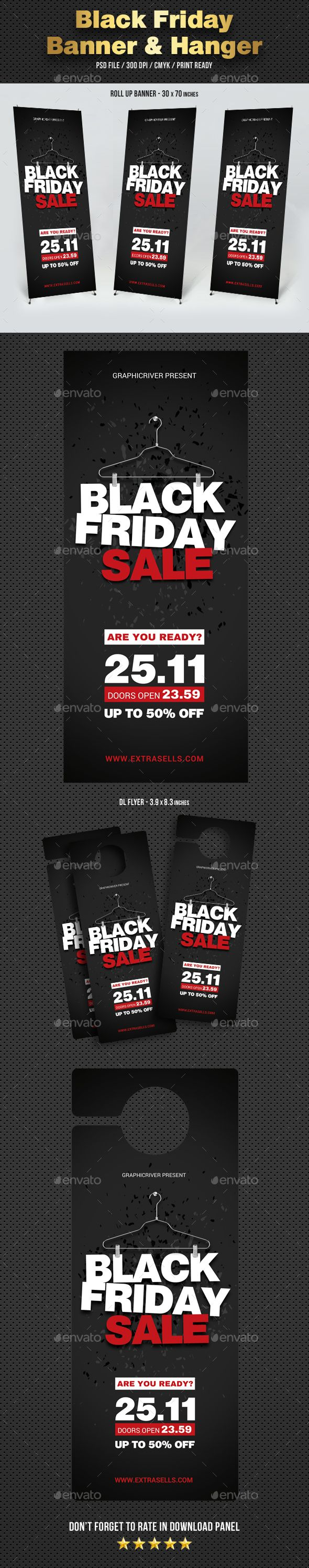 Black Friday #Banner and #Door Hanger - #Signage Print Templates ...