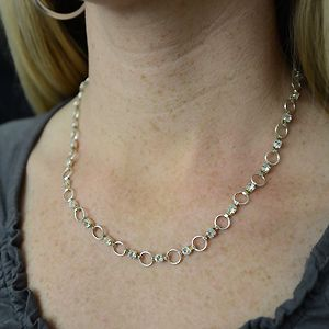 Clear Crystal Link Necklace Silver 16