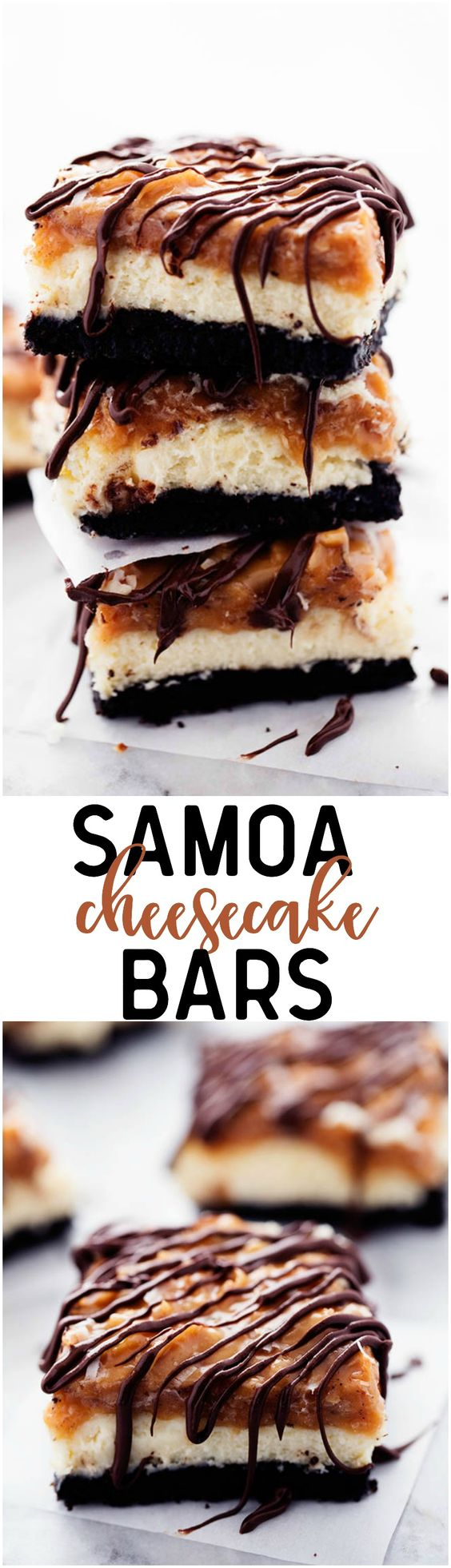 A chocolate oreo crust with creamy cheesecake in the center and topped with coconut caramel and drizzled in chocolate. All of the things that you love in a Samoa Cookie in a delicious cheesecake dessert!