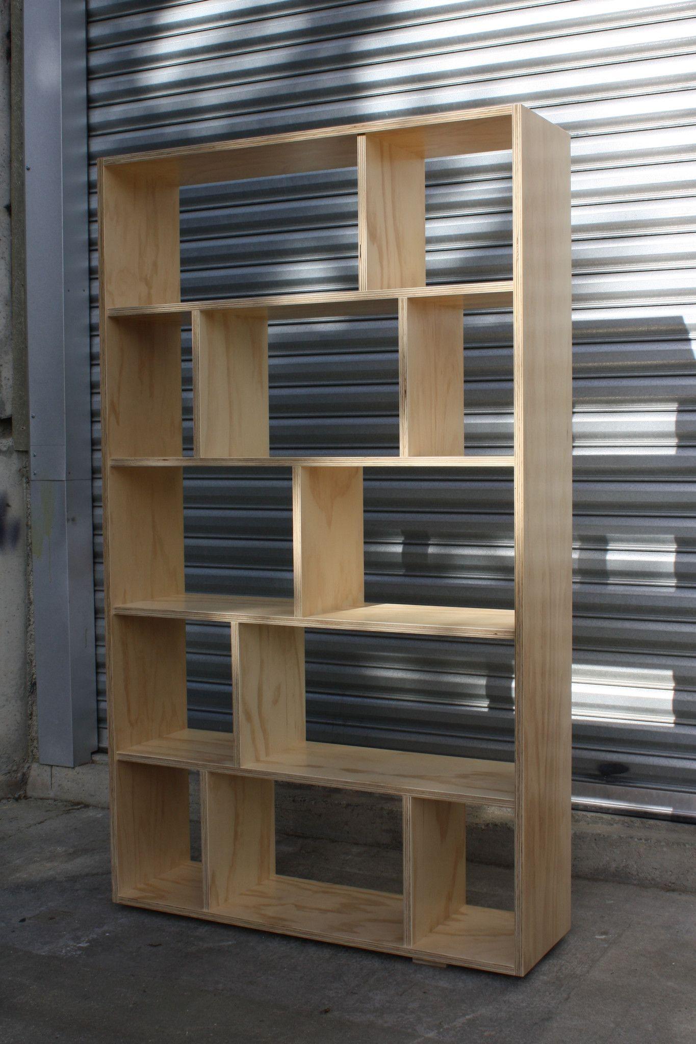 Radiata plywood bookshelf with brick configuration make for Made design