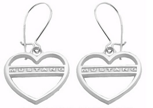 FORD MUSTANG JEWELRY STERLING SILVER EARRINGS HEART WITH MUSTANG AEN0018ERSS BUY NOW FROM LANNANJEWELRYSERVICES.COM