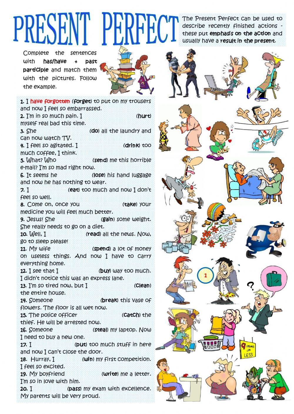 Present perfect interactive and downloadable worksheet